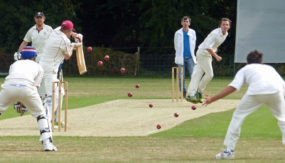Highgate's opener coping with the bounce